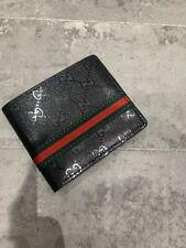GG Black High Shine Faux Leather Bi Fold Mens Wallet Bee Tiger 🐯