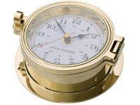 BRASS CLOCK, ROYAL MARINER SHIPS CLOCK 116mm CAST BRASS, SEIKO QUARTZ, #C622A