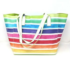 TOMMY BAHAMA 'Rainbow' Large Reversible Tote Bag with Bonus Small Pouch