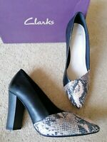Clarks Bable Brook Snake Skin Leather Court Shoes Uk Size 6 D New