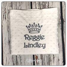 PERSONALISED White Baby Blanket Boys Girls Full Name Crown Keepsake Gift New