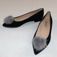 Marian Black Suede Ballerinas Ballet Flats with Furry Pompom Size 41 UK 7.5 BNWB
