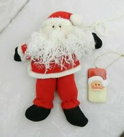 """Santa Doll Christmas Ornament 10.5"""" Red & White Sweater Knit Pillow Quilted Face"""