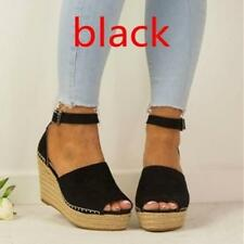 Womens High Heel Wedge Platform Espadrilles Sandal Boho Summer Beach Shoes Size