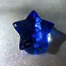 🌟 NEW COBALT Fire and Light Glass paperweight STAR ⭐️!!! SIGNED