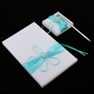 Set of 3pcs Satin Crystal Bow Pen and Pen Stand Guest Book Wedding Supplies