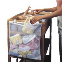 Baby Crib Large Durable Wooden Infant Bed  With Clothes Bags Hanging Storage New
