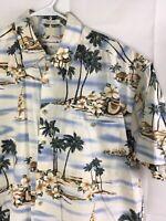 Pierre Cardin Men's Hawaiian Shirt Short Sleeve Button Down Size XL