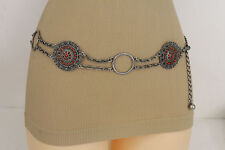 Women Antique Silver Metal Fashion Belt Hip Waist Brown Beads Flower Ethnic