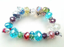 Multi-colour Crystals Clear Rondelle Spacer Elasticated Bracelet
