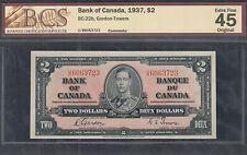 1937 $2.00 BC-22b BCS EF-45 HIGH Grade BEAUTY King George VI Canada Two Dollars
