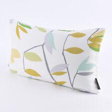 SCHÖNER LEBEN. Kissenhülle Coco Lemonade Blätter grau grün gelb 30x50cm