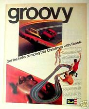 1967 Revell Mustang,Camaro Slot Car Race Set Toy Vintage Promo Print Trade AD