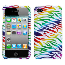 For iPhone 4 4S HARD Protector Case Snap On Phone Cover accessory Rainbow Zebra