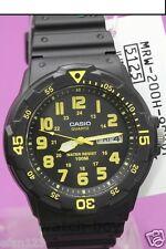 MRW-200H-9B Gelbe Casio Uhr 100M Datum Tagesanzeige Schwarz Neue Farbe