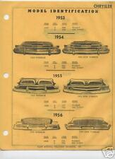 1955 1956 CHRYSLER IMPERIAL BODY PARTS LIST FRAME CRASH SHEETS $$