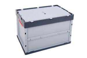 2x Faltbox m. Deckel AUER 60x40x42 cm Kunststoffbehälter Transportbox FBD 64/42