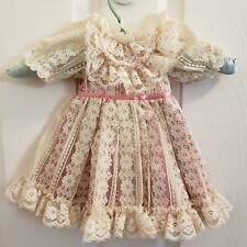 Vintage Bearly People Doll Bear Dress Ivory Lace Over Dusty Pink Satin