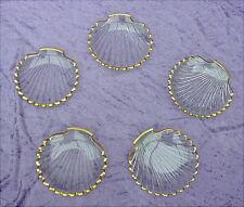5 alte Glasschalen Muschelform Biedermeierzeit um 1840