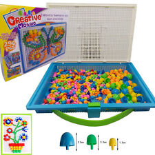 Children Puzzle Peg Board With 296 Pegs For Kids Educational Toys Creative Gifts