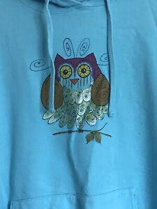 Womens handpainted owl sweatshirt By So Easel Size Medium
