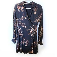 Equipment Harmon Navy Floral Wrap Shirt Dress Size M New