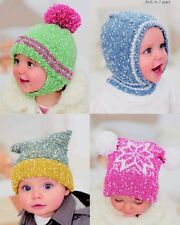 BABY baby knitting pattern for girls and boys hats size birth to 7 years..   dk