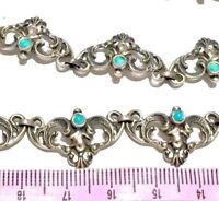 Rivière Victorian Arts&Crafts Turquoise seed  800 silver Riviere necklace