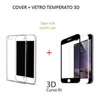 COVER in TPU + PELLICOLA in VETRO TEMPERATO 3D CURVO per Iphone 6 6s 7 / 7 PLUS
