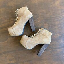 Jeffrey Campbell Lita Havana Boots Size 7.5 Platform Ankle Booties Tan Brown