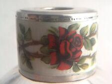 Antique 1930's Sterling Silver & Enamel Rose Flower Cut Glass Scent Bottle