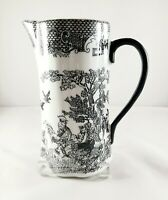"Vintage Chinese Black and White Porcelain Wall Pocket Pitcher Vase 8"" Roosters"