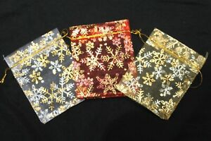20 X CHRISTMAS SNOWFLAKE ORGANZA BAGS MEDIUM 9CM X 12CM / RED, WHITE,GOLD