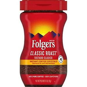Folgers Classic Roast Instant Coffee, 3 Ounce, Packaging 3 Ounce (Pack of 1)