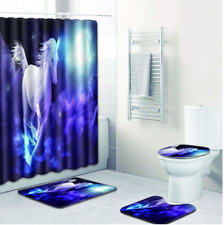 Unicorn Blue & Black Bathroom Shower Curtain Toilet Seat Cover Rug Set