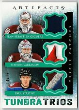 13-14 UD Artifacts Tundra Trios, Triple Patch, Giguere, Varlamov, Stastny, 14/18