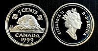 Canada 1999 Proof UNC Silver Five Cent Piece!!