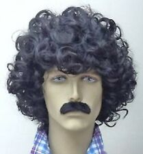 Black Scouser Wig and Moustache Set Afro Fancy Dress Wig