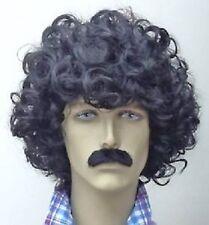 Black Scouser Wig and Moustache Set Afro Fancy Dress Wig