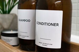 Minimal Waterproof Bathroom Labels | White Vinyl | Customisable | Durable