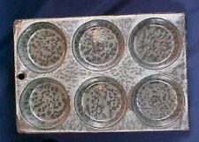 Antique Gray Graniteware Muffin Tin 6 Cup Enamelware Granite