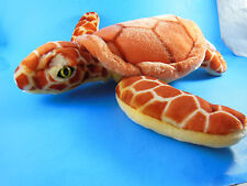 "Fiesta Orange plush Sea Turtle 15"" w yellow eyes VERY nice!"