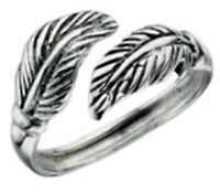 Elements 925 Oxidised Sterling Silver Ladies Wraparound Feather Toe Ring