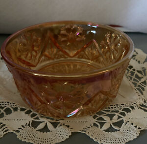 Imperial Glass  Merigold Carnival glass Cosmos Pattern #474 Bowl