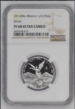 2014 Silver Proof Libertad Fractional 1/4 oz onza PF68 NGC