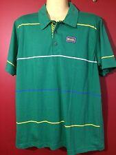 SBA Men's Green Striped Brasil Polo Short Sleeved Shirt - Size Large - NWT