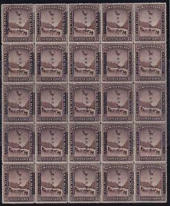 Newfoundland Sc #211/211i (1933) 15c Land & Sea Post Block of 25 Mint VF NH