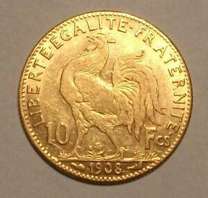 ♔ Superbe Pièce de 10 francs frs en Or * Marianne Coq 1908 * Demi Napoléon ♔