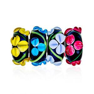 Multi Color 3D Flower Lampwork Murano Glass Bead Charm Bundle Set