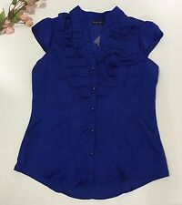 New York And Company Royal Blue Button Down Cap Sleeve Ruffled Blouse Size 6